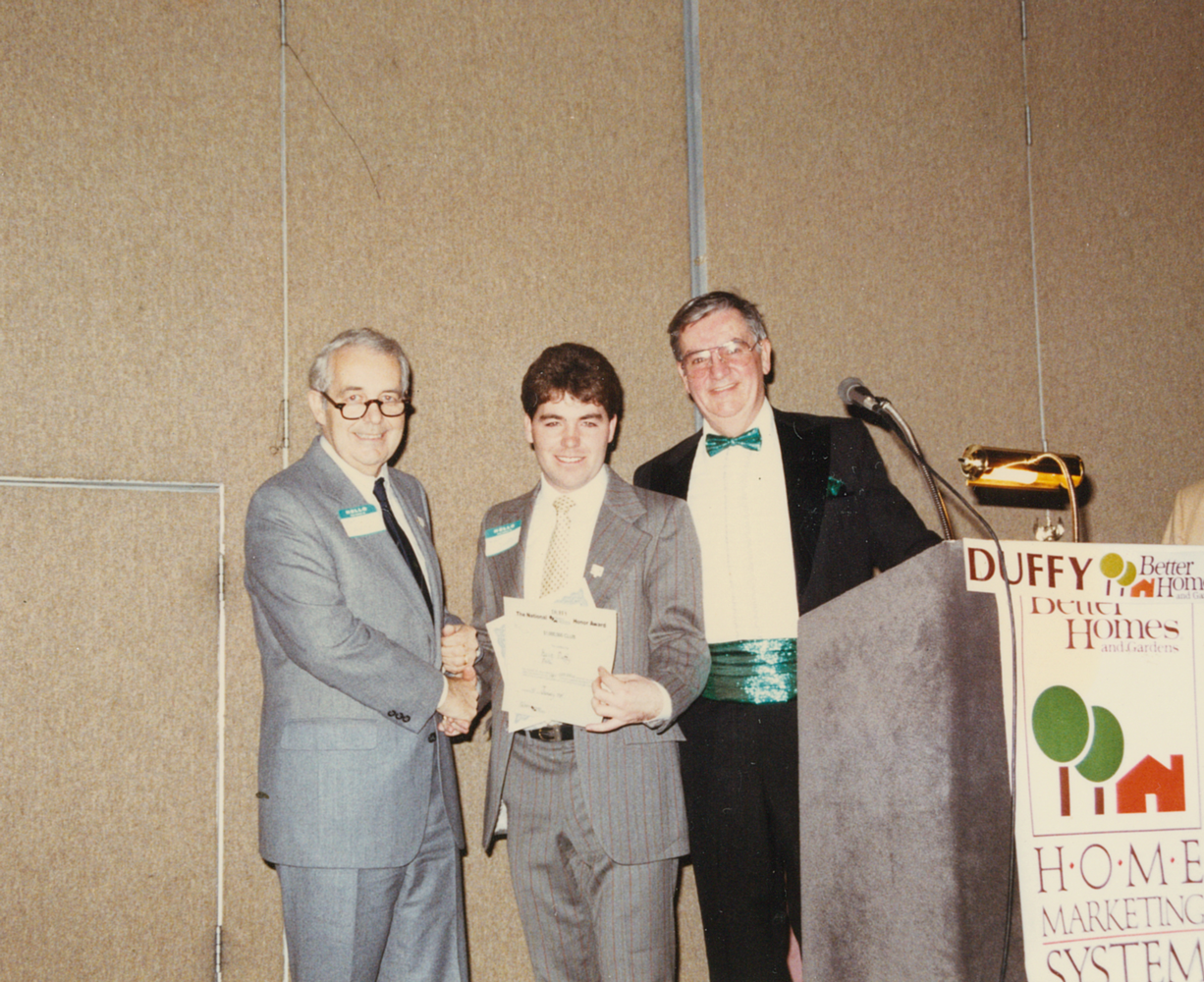 Accepting award - Duffy Better Home and Gardens